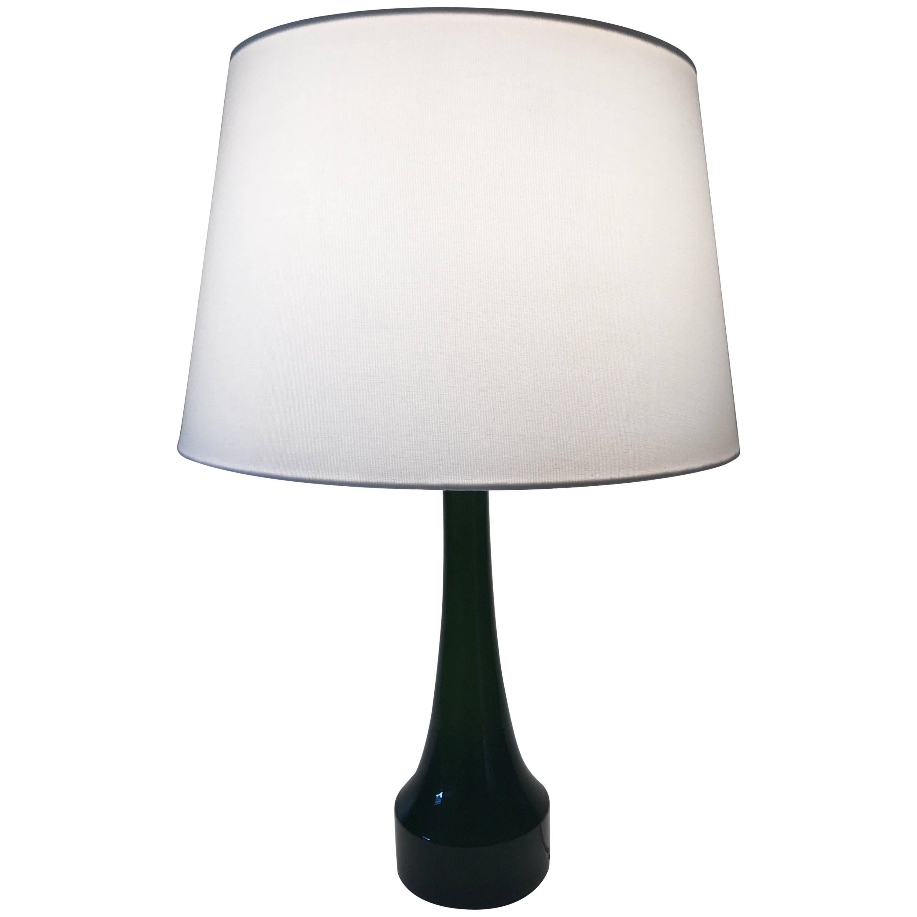 Swedish, 1950 Bergbom And Holmegaard Green Glass Table Lamp