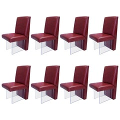 Vladimir Kagan Eight Omnibus Leather and Lucite Dining Chairs