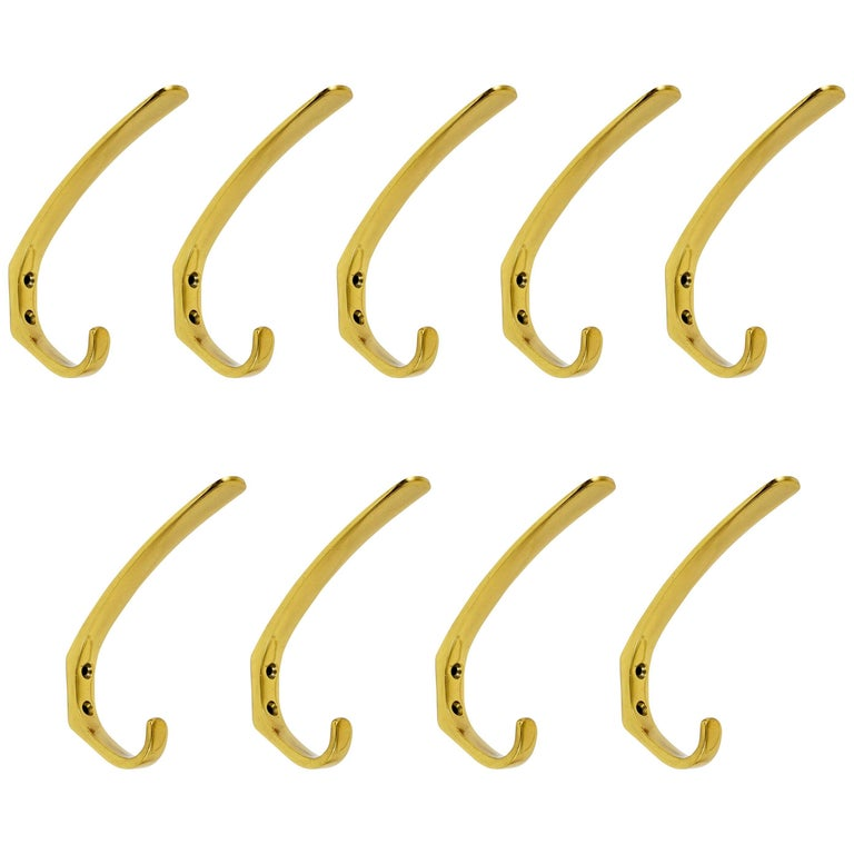Up to Six Midcentury Brass Wall Coat Hooks by Hertha Baller, Austria, 1950s For Sale