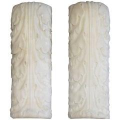 Irish Late Georgian Pair of Statuary White Marble Corbel Wall Brackets