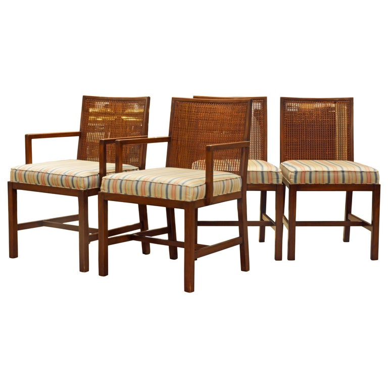 Set of Four Scandinavian Style Cane Back Dining Chairs Manner of Michael Taylor For Sale