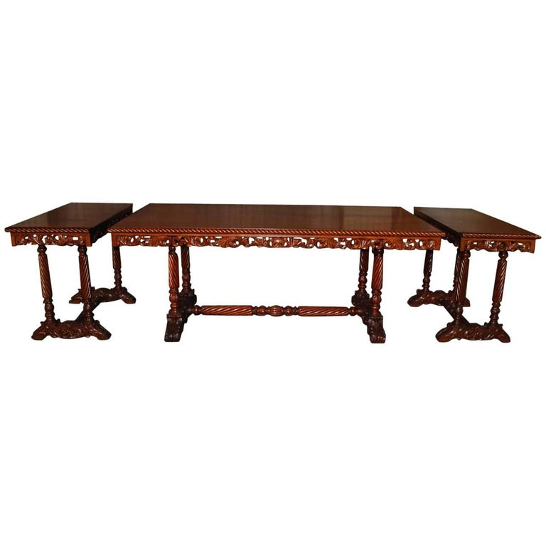 20th Century Neo Renaissance Italian Hand-Carved Table and Matching Sidetables For Sale