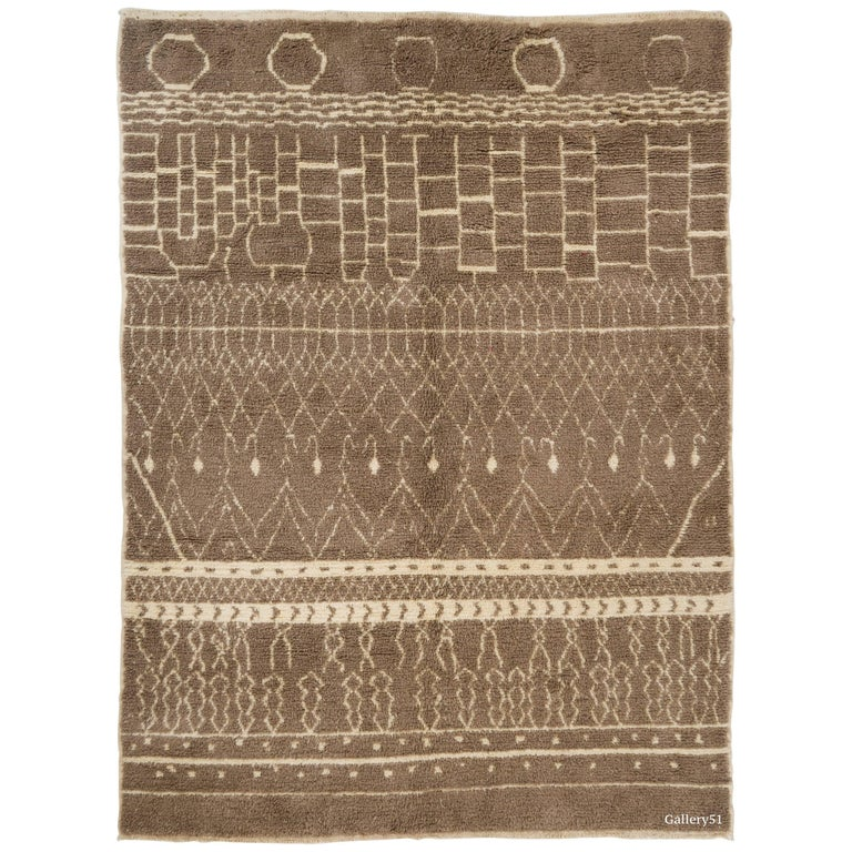 Contemporary Moroccan Rug in Latte Brown and Beige Colors