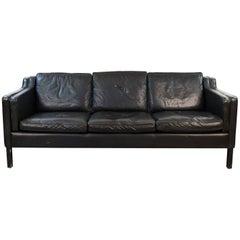 Danish Midcentury Borge Mogensen Style Black Leather Three-Seat Sofa