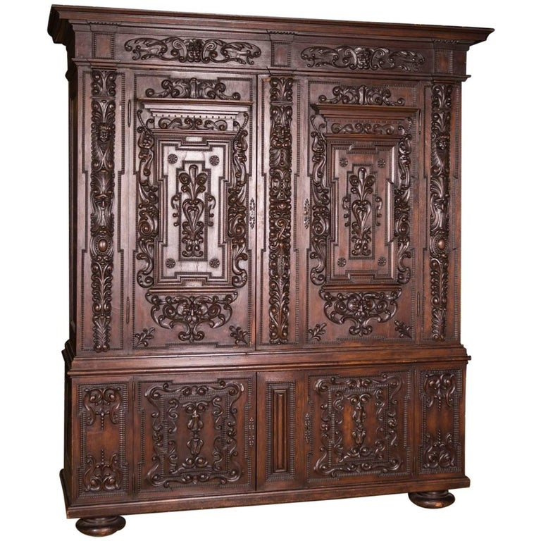 19th Century Original Antique Neo Renaissance Baroque Cabinet