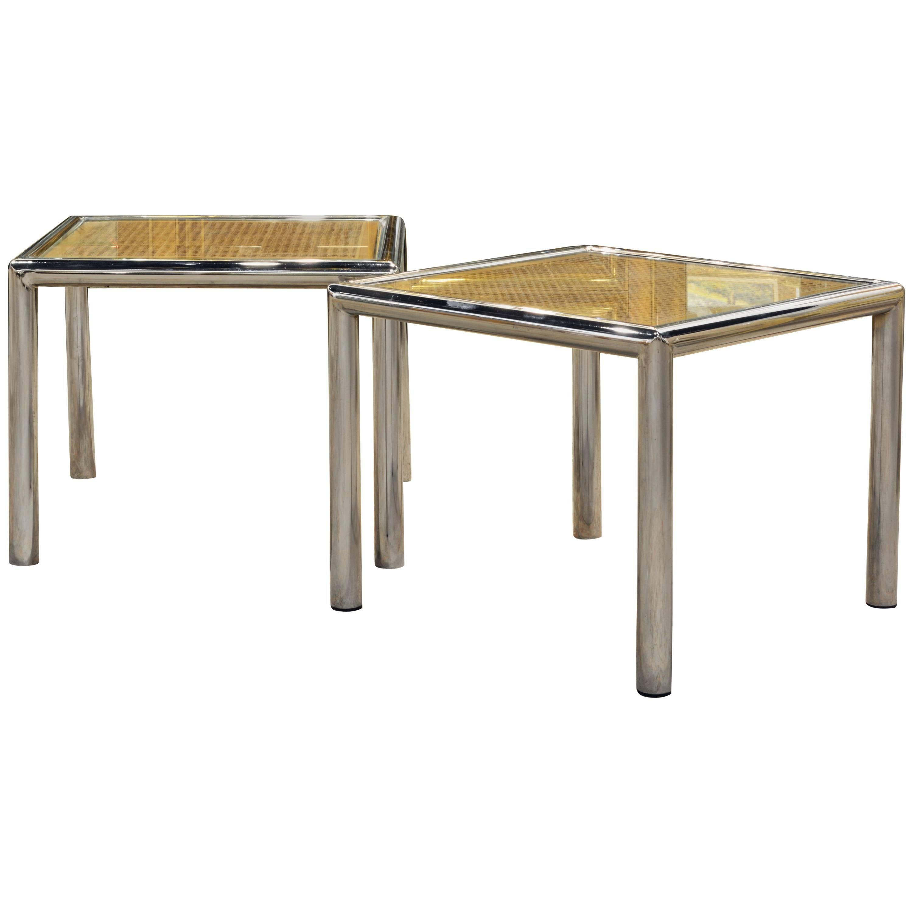 Pair Of Tubular Chrome Frame And Caned Glass Top Side Tables By Milo  Baughman 1
