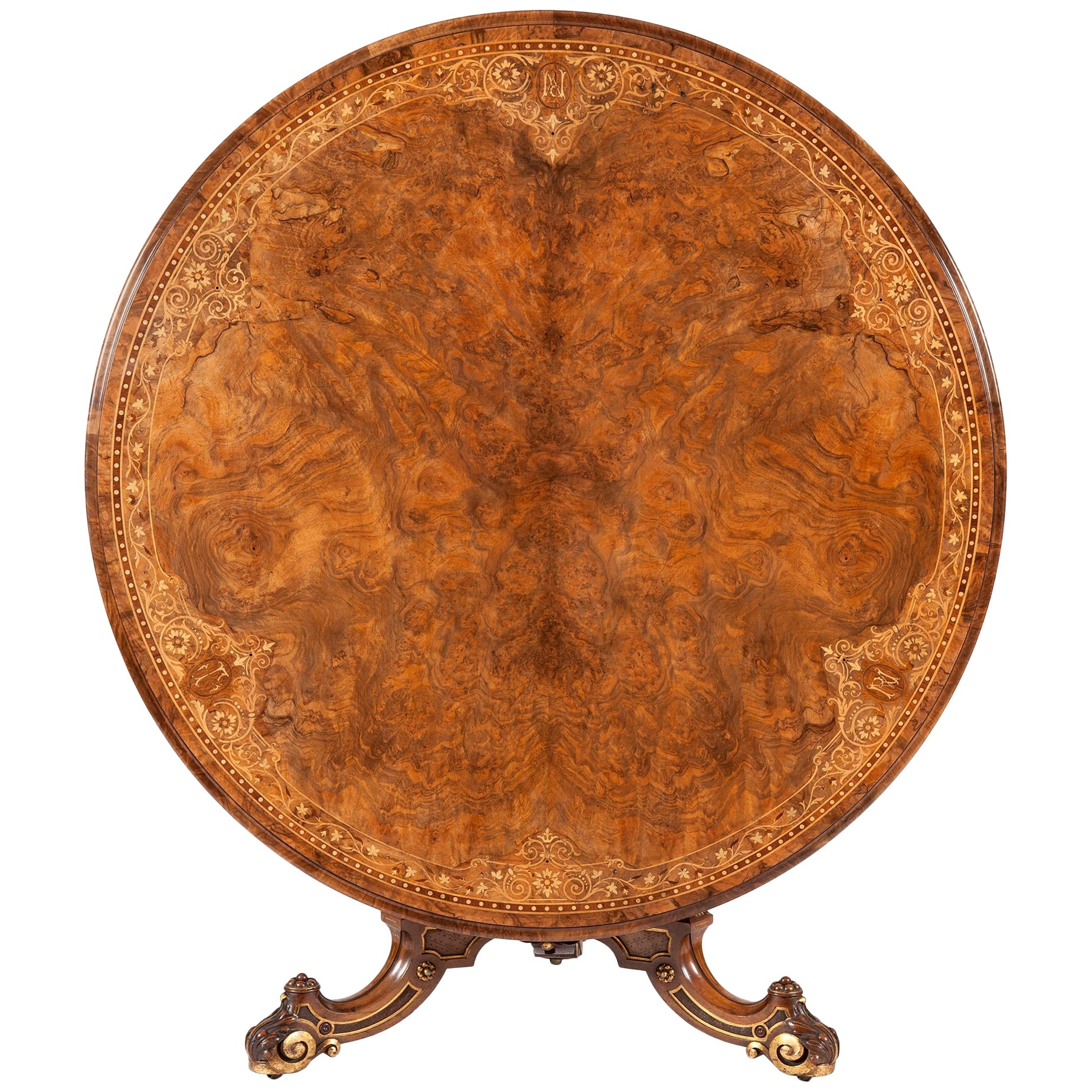 19th Century English Walnut with Marquetry Center Table