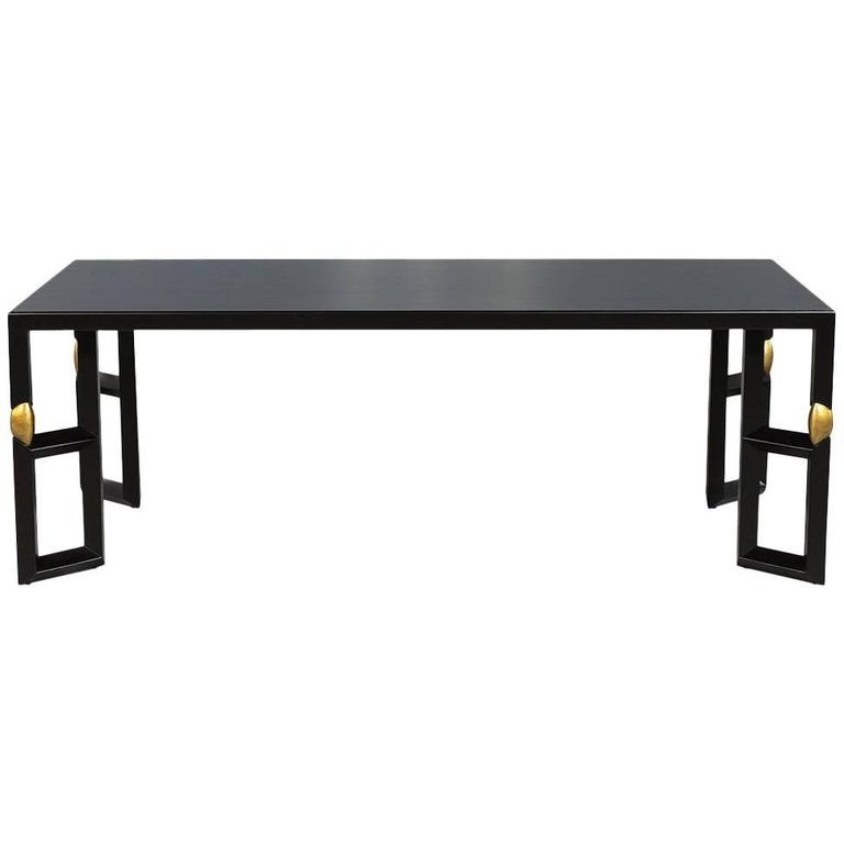 Modern Ebonized Dining Table with Gold Leaf Accents