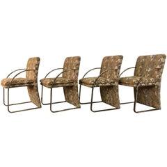 Mid-Century Modern Chrome Glam Dining Chairs Geometric Pop Art Style Upholstery