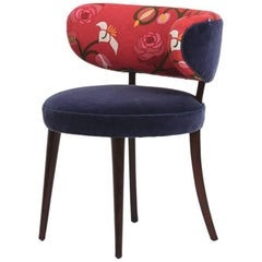 Danish Produced Easy Chair, 1940s, Upholstered in Floral Textile by Eva Jobs
