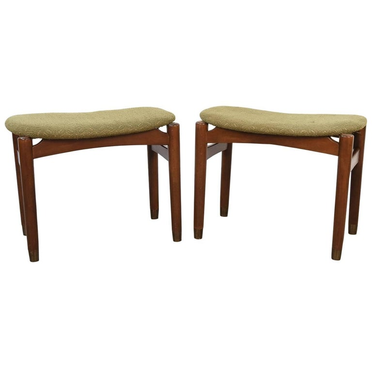 Pair of Danish Midcentury Stools or Ottomans For Sale
