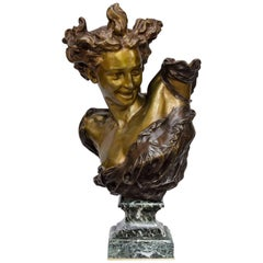 "19th Century Bronze Bust of ""Genius of the Dance"" by Carpeaux Jean-Baptiste"
