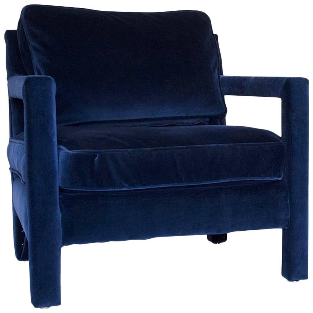 Milo Baughman Style Parsons Upholstered Lounge Chair In Velvet
