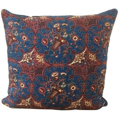 19th Century French Antique Pillow Blockprinted with Baskets of Flowers