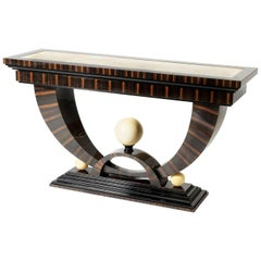 Macassar Ebony Console with Onyx Spheres by Sd Mobili, Handmade in Italy