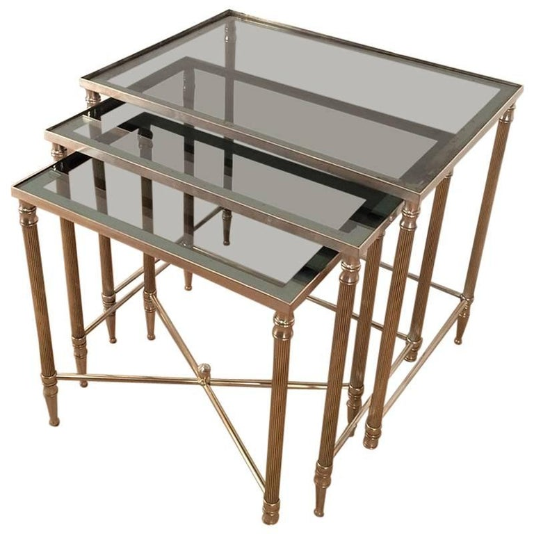 Set of Three Nickel-Plated Brass Nesting Tables with Blueish Glass Tops