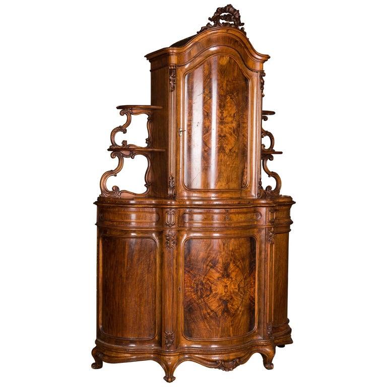 Late 19th Century Biedermeier Top Cupboard, circa 1860 Walnut Veneer For Sale
