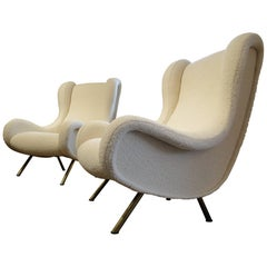 Set of Two Marco Zanuso Senior Lounge Chairs, New Upholstery