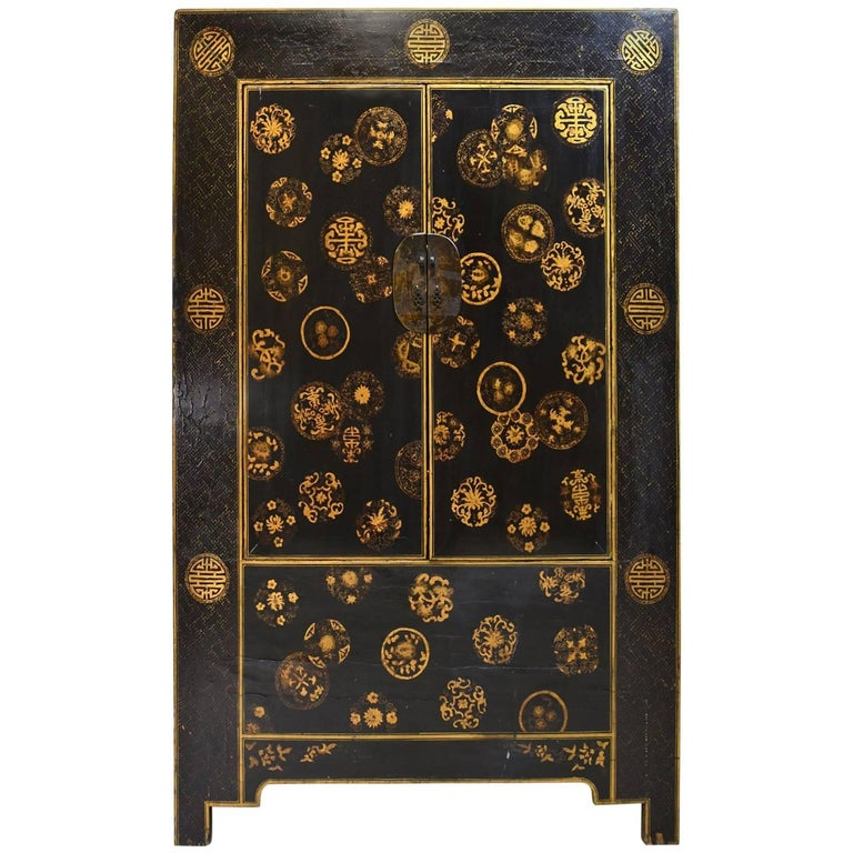 Chinese Qing Cabinet with Black Lacquer & Gold Painted Embellishments