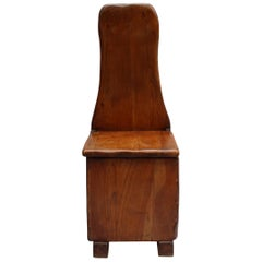 French Mid-Century Cherry Chair with Compartment Under Seat