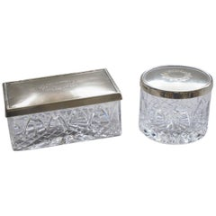 Art Nouveau Set of Two Cut Crystal and Silver Plated Jewelry Boxes