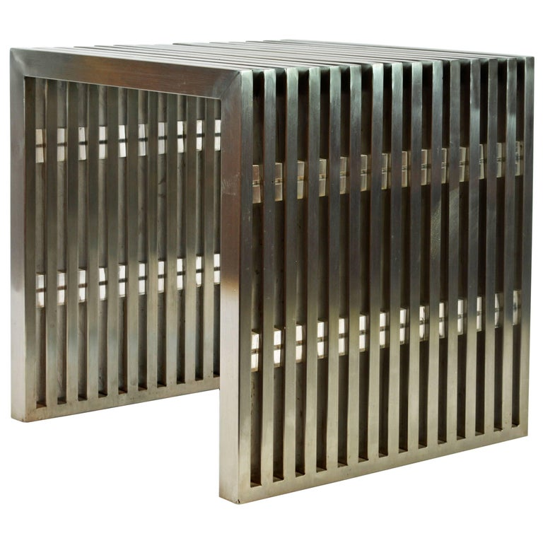 Brushed Steel and Lucite Midcentury Slat Bench Attributed to Milo Baughman For Sale