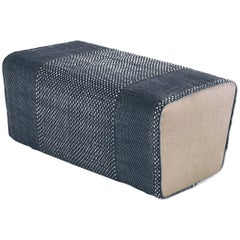 Tres Collection Blue Hand-Loomed Wool and Felt Pouf by Andreu Carulla in Stock