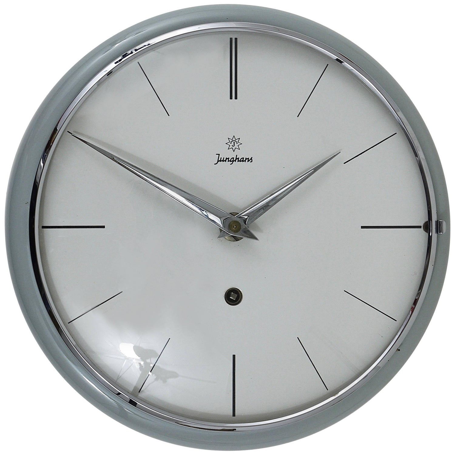 Wall clock by junghans germany gold crystal glass mirror 1970s grey round junghans midcentury wall clock germany 1950s amipublicfo Choice Image