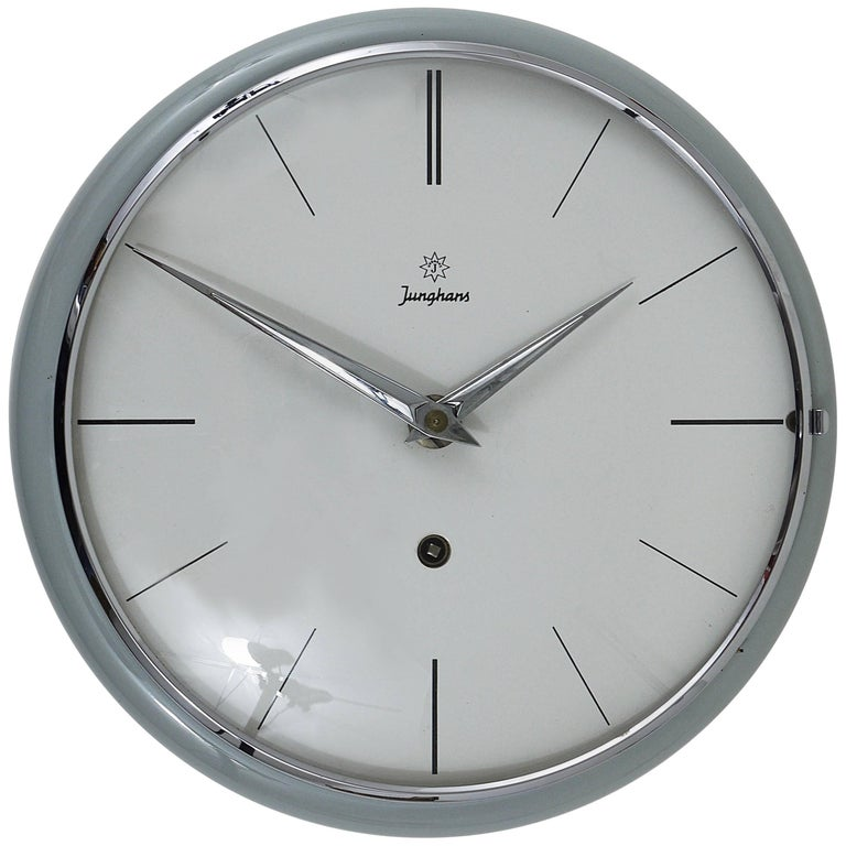 Grey Round Junghans Midcentury Wall Clock, Germany, 1950s For Sale