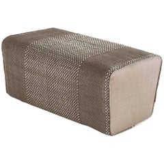 Tres Collection Brown Hand-Loomed Wool and Felt Pouf by Andreu Carulla in Stock