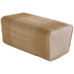 Tres Collection Ochre Hand-Loomed Wool and Felt Pouf by Andreu Carulla in Stock
