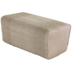 Tres Collection Pearl Hand-Loomed Wool and Felt Pouf by Andreu Carulla in Stock