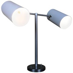 Modernist Articulating Dual Double Cylinder Cone Desk Lamp by Walter Von Nessen