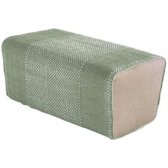Tres Collection Sage Hand-Loomed Wool and Felt Pouf by Andreu Carulla in Stock
