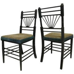 E W Godwin attr, A Pair of Anglo-Japanese Side Chairs with Radiating Spindles