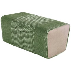 Tres Collection Green Hand-Loomed Wool and Felt Pouf by Andreu Carulla in Stock