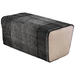 Tres Collection Black Hand-Loomed Wool and Felt Pouf by Andreu Carulla in Stock