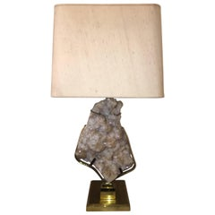 Willy Daro Mounted Stone Brass Lamp, 1970s