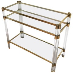 1970's French Lucite and Brass Three-Tiered Metal Console Table