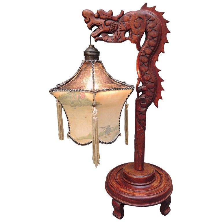 Chinese dragon table lamp with silk lantern circa 1940 for sale at chinese dragon table lamp with silk lantern circa 1940 for sale aloadofball Choice Image
