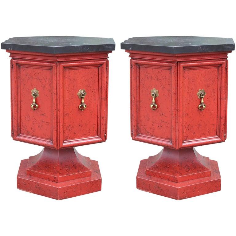 Pair of Hollywood Regency Slate Top Red and Black Pedestal Side or End Tables