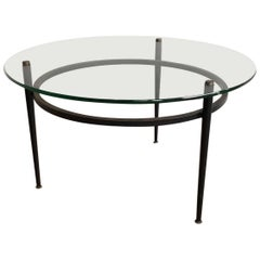 Small Round Black Lacquered and Brass Coffee Table