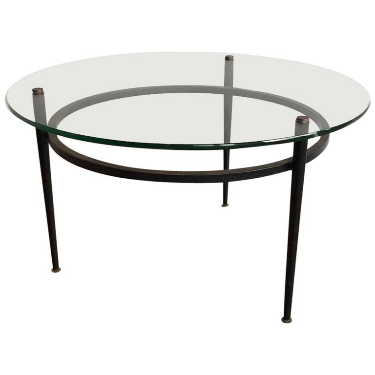 Small Round Black Lacquered And Brass Coffee Table At 1stdibs