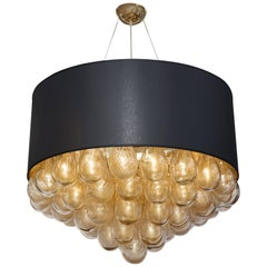 Unique Large Italian Murano Glass Gold Drops and Black Shade Chandelier