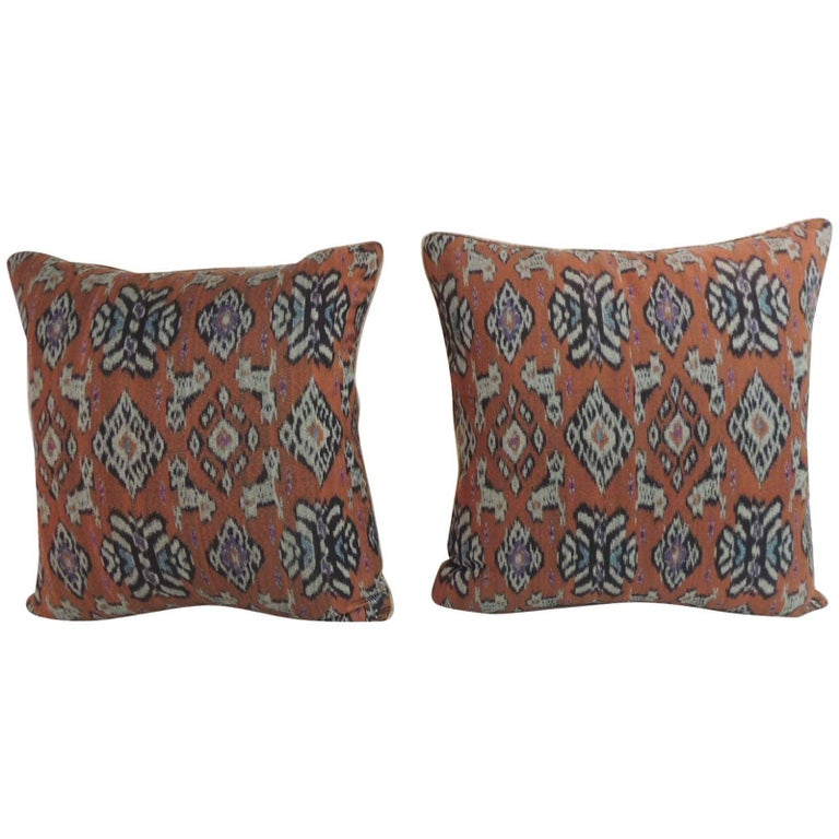 Decorative Pillow Trim : Pair of Red Ikat Decorative Pillows with Trim For Sale at 1stdibs