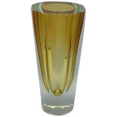 1960s Italian Murano Cased Yellow Glass Vase