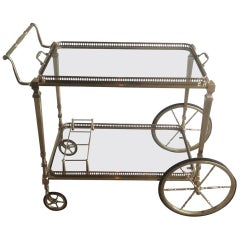 1940's French Jansen Style Brass Bar Cart with Removable Trays