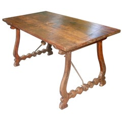 Spanish 18th Century Walnut Table with Lyre Shaped Legs