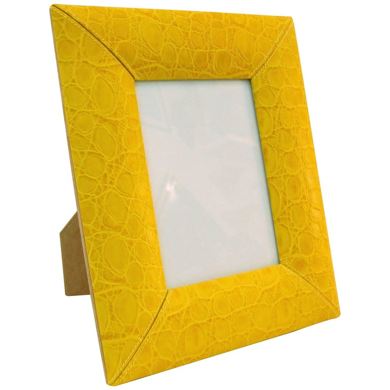 1990s Paciotti Italian Couture Yellow Embossed Leather Fashion Photo Frame For Sale