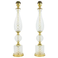 Pair of Elegant Textured Glass and Brass Table Lamps, 1960s